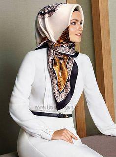 "Armine Silk Hijab Scarf Spring Summer White, gold and black vintage pattern Turkish Designer silk scarf Pure SilkSilk Satin weaveSquare Scarf: 90 x x ""Armine Ipek Esarp""Made in Turkey. Islamic Fashion, Muslim Fashion, Hijab Fashion, Fashion Outfits, Beautiful Muslim Women, Beautiful Hijab, Modest Outfits, Modest Dresses, Beau Hijab"