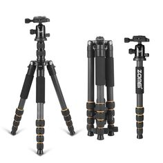 Q666c Portable Professional Carbon Fiber Tripod monopod&BallHead for DSLR Camera