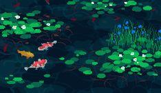 Lago de carpas em pixel art animada
