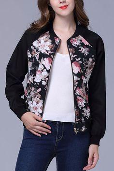 Floral Print Pattern #Causal Bomber #Jacket - US$21.95 -#YOINS #blackfriday #coupons #Discount