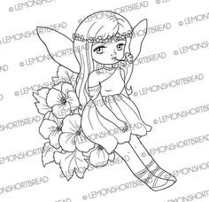 Digital Stamp Relaxing Flower Fairy Digi Download Fantasy