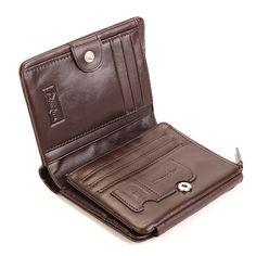 Men Women Genuine Leather Short Couple Wallet Triple Zipper Card Holder 2016 New
