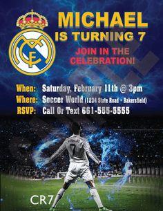 Real Madrid Soccer Birthday Custom Invitation Spanish League