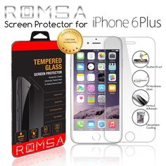 Amazon.com: iPhone 6 Plus Screen Protector by ROMSA, Oleophobic and Scratch Resistant Screen Protection, Durable Shatter Resistant Tempered Glass Shield for Apple, 5.5 Inch, 100% Money Back Guarantee.: Cell Phones & Accessories