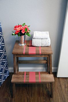 When the kids can't reach the sink, use this stool to prop them up. Otherwise use it to keep extra hand towels and fresh-smelling flowers near the sink for guests. See more at I Heart Organizing »