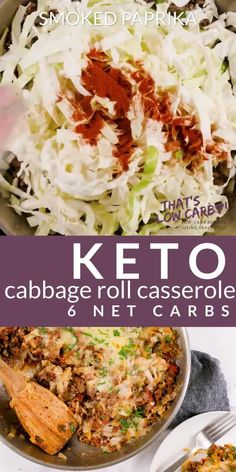 Cabbage Roll Casserole – Unstuffed Cabbage Rolls – That's Low Carb! Cabbage Roll Casserole is Keto friendly and low-carb solution to your cabbage roll cravings. Simple, easy and delicious. This is sure to become a family favorite. Cabbage Recipes, Beef Recipes, Cooking Recipes, Healthy Recipes, Cabbage Diet, Snacks Recipes, Healthy Snacks, Low Carb Dinner Recipes, Clean Eating Recipes