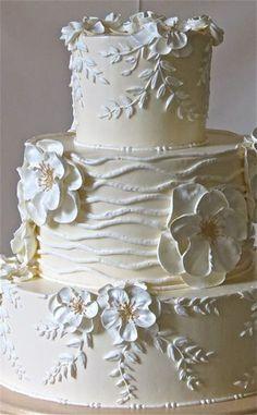 White on off white wedding cake cake Square Blue Hydrangea Wedding Cake Pretty Cake! Amazing Wedding Cakes, Elegant Wedding Cakes, Wedding Cake Designs, Elegant Cakes, Amazing Cakes, Gorgeous Cakes, Pretty Cakes, Ivory Wedding Cake, Gold Wedding