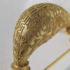 Fibula - DETAIL OF GRANULATION, Gold. l. 3 7/8 in.  7th century BCE  Etruscan