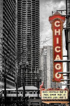 Chicago Theatre Chicago, Illinois with the famous Marina City Tower (1 of 2 identical buildings) in the background.