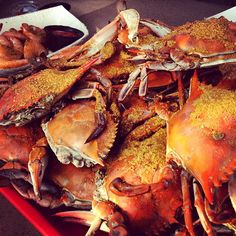 I wait all year for my trip to Dewey Beach, DE, and not going to lie, it has a lot to do with the steamed MD blue crabs at Ed's. It's seriously the best place to grab a dozen—or more, this pic is of 11/2 dozen!—large guys covered in Old Bay. And of course no crab fest is complete without a side of hush puppies and steamed shrimp, trust me, this MD is a purist!  —@Allyson Dickman, Associate Lifestyle Editor