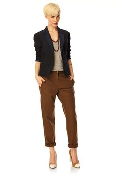 I like this over all look - the blazer shows how you can instantly smarten up otherwise casual trousers.