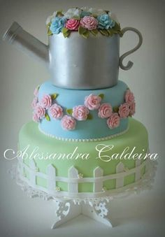 Watering Can Cake Cake Cookies, Cupcake Cakes, Cupcakes, Beautiful Cakes, Amazing Cakes, Cake In A Can, 90th Birthday Parties, Mothers Day Cake, Great British Bake Off