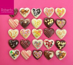 Made using Roberts Confectionery Heart Chocolate Mould & Roberts Confectionery White, Milk & Dark chocolate melts
