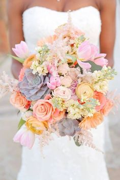 Succulent and pink, peach bridal bouquet | Our Favorite Wedding Bouquets via @alowcountrywed