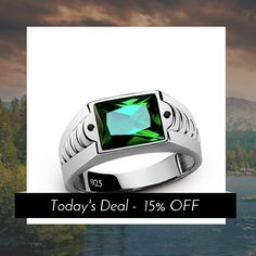 Today Only! 15% OFF this item.  Follow us on Pinterest to be the first to see our exciting Daily Deals. Today's Product: 925 Sterling Silver Men's Emerald Ring with Black Onyx Accents Buy now: http://www.jewelsformen.com/products/925-sterling-silver-mens-emerald-ring-with-black-onyx-accents?utm_source=Pinterest&utm_medium=Orangetwig_Marketing&utm_campaign=Daily%20Deal   #fashionnews #jewelrytrends #streetfashionstyle #mensjewelryfashion #jewelsformen #mensjewelryshop #instafashion #musthave…