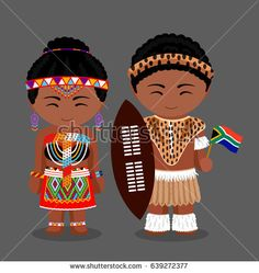 Zulu tribe. Zulus in national clothes with a flag. Man and woman in traditional costume. Travel to Republic of South Africa. People. Vector flat illustration.