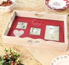 Home sweet home personalised wooden serving tray with handles, complete with photo frame spaces to always kepp loved ones close by. A gift by Dibor will make a family home all the more loving and cherished with accessories that evoke charm, individuality and a hint of nostalgi Personalise this beautiful wooden tray with 3 photos and gift to someone special. Made from solid wood with a washed chalky finish, this unusual find has a glass tray inset making it perfectly practical. Photos are…