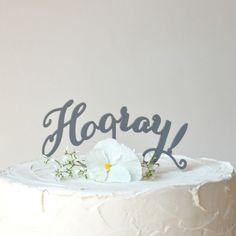 """Tortenstecker """"Hooray"""" in Anthrazit"""