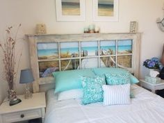 I found this old glass door at an antique fair. Here's how I turned it into a beach themed headboard for my guest bedroom #diy #headboard #diyhomedecor | sponsored