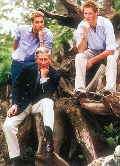 2002: Despite jokingly looking like they are modelling for Rodin's The Thinker (they are in 'the stumpery' at Highgrove), this was a troubled year for Prince Charles. First Harry was exposed for his drug and alcohol consumption, then former royal butler Paul Burrell was cleared of stealing Princess Diana's possessions in a bizarre and bungled case that heaped ignominy on the already troubled monarchy.
