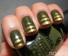 Military Chic Nail Art Design ~ China Glaze: Westside Warrior (from the Metro collection); for the pyramid tips, used H M: Golden Treasure (is a gold shimmer) Military Nails, Army Nails, Military Chic, Military Army, Chic Nail Art, Chic Nails, Style Nails, Classy Nails, Nail Art 2014