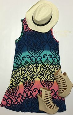 Summer Fashion Dress. Modern ombre print dress that is super comfortable on any hot summer day. Come shop with us! Free shipping on orders $50 and over!