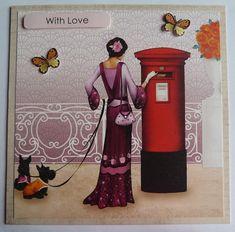 Art Deco Inspired Birthday Card, Lady With The Dogs Card, OOAK, Handmade Card For Her, Luxury Birthday Card, Home Decor, Scotch Terrier Card #birthdaycards #handmadecards #artdeco #1920's