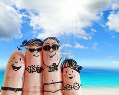 finger family travels at the beach as concept Stock Photo