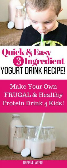 Quick & Easy Drinkable Yogurt Recipe! This is a drinkable yogurt DIY so that you can make danimals copy cat drinks at home! Frugal, healthy, and packed with protein!