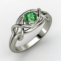 Round Emerald 14K White Gold Ring....any stone would be beautiful!