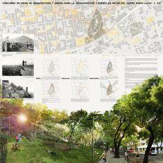 Jadue Livingstone + Juan Hurtado Arquitectos, primer lugar en concurso de ideas para Cerro Santa Lucía,Lámina #01. Image Cortesia de Equipo Primer Lugar