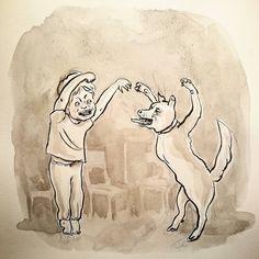 "#Inktober N.14 ""which of us looks more #fierce?"" I think Peter with brackets  #penandink #analogillustration #instagram #doodles #scribble #illustratorsofinstagram #childrenillustrator #kidsillustrator#comuc #storytelling #visualstory #inkdrawing #inkandbrush #bnw #monochrome #Catilustre #ffm #inktober2017"