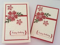 Box of 6 Birthday Cards Stamp Set - Flower Shop, Petite Petals, Express Yourself Stampin' Up!