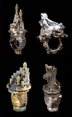 Each piece seems to tell the story of an enchanted castle and it's owner. Loving these intricate rings designed by Alessandro Dari. Jewelry Shop, Jewelry Art, Jewelry Rings, Jewelry Accessories, Fine Jewelry, Jewelry Design, Fashion Jewelry, Unusual Rings, Unusual Jewelry