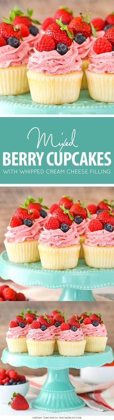 Berries and Cream Cupcakes - mixed berry buttercream paired with a moist vanilla cupcake stuffed with whipped cream cheese filling, topped with fresh strawberries, raspberries and blueberries | by Lindsay Conchar for TheCakeBlog.com