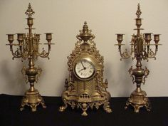 Vintage WEST GERMANY Solid Brass Clock and by catherinefarrens, $175.00
