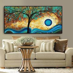 Abstract Tree Sunset Wave Oil Painting on Canvas Poster and Prints Scandinavian Wall Art Picture for Living Room Cuadros Decor Abstract Canvas Wall Art, Oil Painting On Canvas, Painting Frames, Wall Canvas, Canvas Prints, Living Room Pictures, Wall Art Pictures, Images D'art, Contemporary Wall Decor