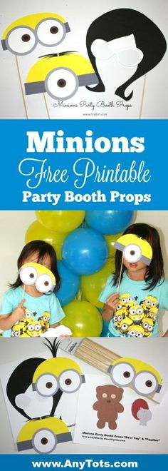 Minions Party Ideas: Free Printable Minions Masks, great as Minions Party Booth Props. Also add a Minions Balloon Tower to your Minions Birthday. www.anytots.com for more free printable and party ideas.
