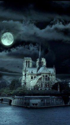 Catedral de Notre Dame de París en la noche, Francia