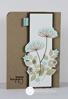 handmade card:  Dynamic Duos #24: Pool Party & Soft Suede (aqua and kraft with ivory) ... really pleasing color combo! luv how the Summer Silhouette flowers go off the edge of the column ... great card!!