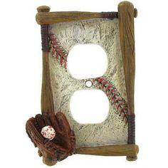 Baseball Double Outlet Plate
