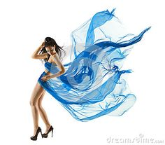 Woman Sexy Dancing in Blue Dress. Fashion Model dance with Waving fluttering Fabric. Long legs. White Isolated Background