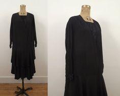 1920s Dress / 20s Black Silk Dress