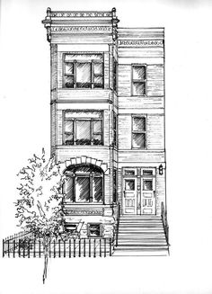 Custom home portrait in ink Architectural drawing of your