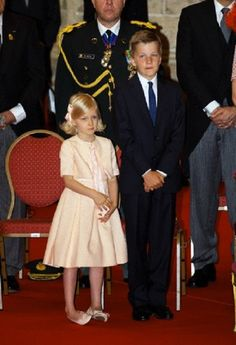 Princess Eleonore and Prince Gabriel of Belgium are attending the Te Deum at the Sint-Michiels-en-Sint Goedelekathedraal in Brussel during the National Day celebrations in Brussels, 21 July 2014.