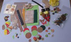 KIT SCRAPBOOKING/autunno/accessori scrapbooking/bottoni/fiori/tag/carta scrapbooking/nastri/adesivi 3D