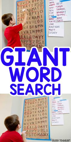 Giant Word Search Activity: Literacy activity for kids; learning to read activity from Busy Toddler activities for kids Giant Word Search Activity for Kids - Busy Toddler Sight Word Activities, Toddler Activities, Toddler Learning, Learning Activities For Kids, Learning To Read Games, Reading Games For Kids, Kindergarten Reading Activities, Kindness Activities, Sight Words