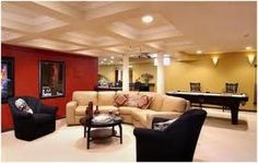 Contemporary Retro red, yellow, white basement with black and cream leather seating