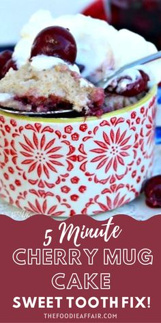 Make a dessert just for you! This simple mug cake is made with whole wheat flour and fresh cherries, although I like to add my cherry compote. Oh, my is this delicious! Quick sweet tooth fix. #dessert #easyrecipe #cake Single Serve Desserts, Easy No Bake Desserts, Köstliche Desserts, Best Dessert Recipes, Cheesecake Recipes, Cupcake Recipes, Cookie Recipes, Delicious Desserts, Birthday Desserts