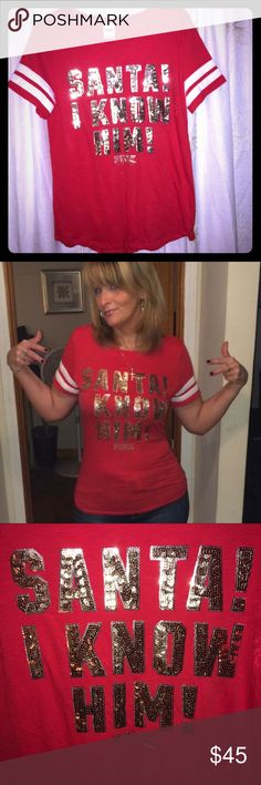 VS PINK Santa Sequin Tee Adorable 'Santa I Know Him!' Tee. Perfect condition, literally worn once. Christmas red with gold sequins and white trim around sleeves. I do not trade, hold, or indicate lowest in comments. Check out my other listings to bundle and save 25% 😎! PINK Victoria's Secret Tops Tees - Short Sleeve